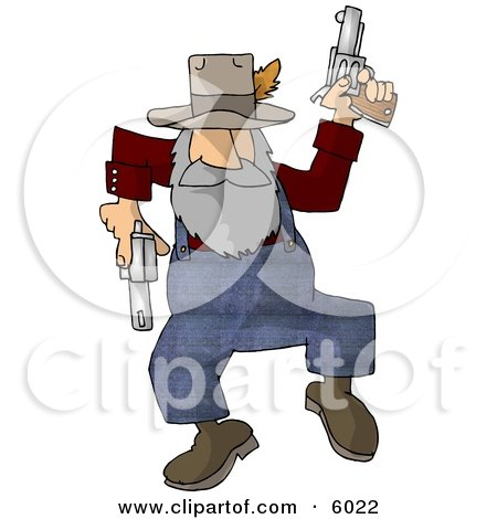 Hillbilly Shooting Guns While Dancing Around Clipart Picture by djart