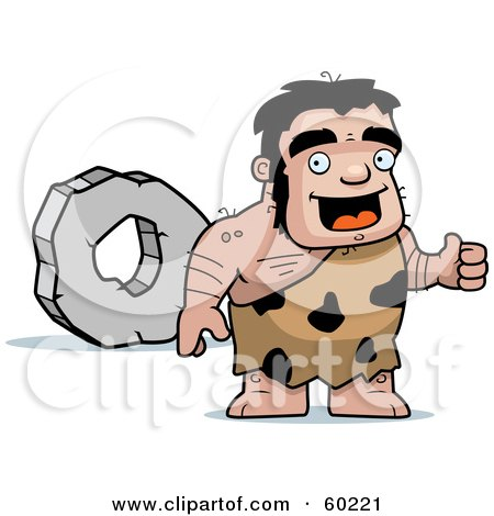 Royalty-Free (RF) Clipart Illustration of a Stalky Caveman Character Standing By A Rock Wheel by Cory Thoman