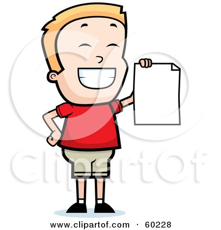 Royalty-Free (RF) Clipart Illustration of a Grinning Little Boy Holding Up A Blank Report Card by Cory Thoman