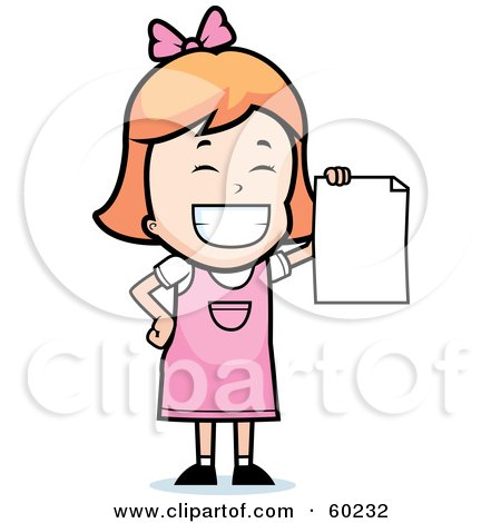 Royalty-Free (RF) Clipart Illustration of a Grinning Little Girl Holding Up A Blank Report Card by Cory Thoman