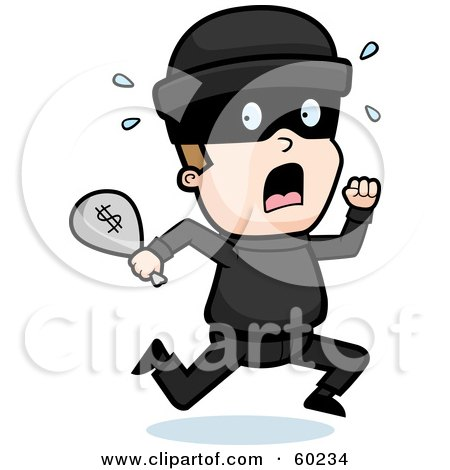 Royalty-Free (RF) Clipart Illustration of a Running Burglar With A Bag Of Cash by Cory Thoman
