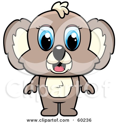 Royalty-Free (RF) Clipart Illustration of an Adorable Blue Eyed Brown Koala by Cory Thoman