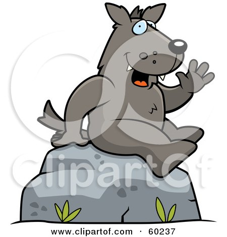 Royalty-Free (RF) Clipart Illustration of a Friendly Wolf Character Sitting On A Rock And Waving by Cory Thoman