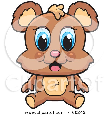 Royalty-Free (RF) Clipart Illustration of an Adorable Blue Eyed Bear Sitting by Cory Thoman