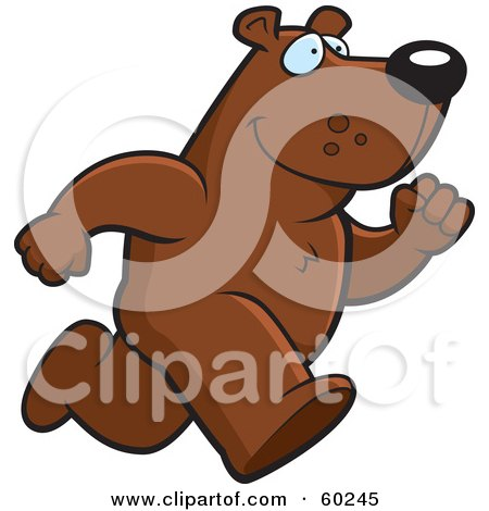 Royalty-Free (RF) Clipart Illustration of a Bear Character On The Run by Cory Thoman