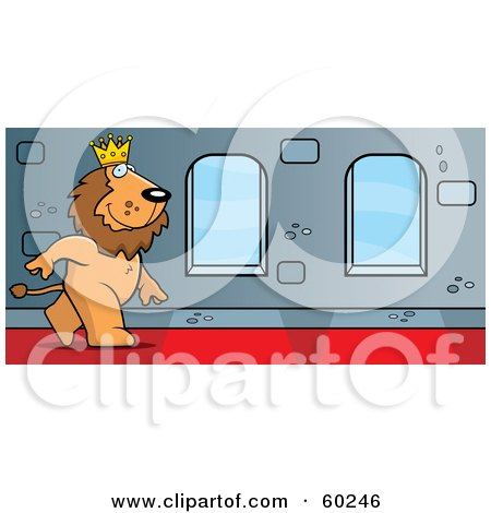 Royalty-Free (RF) Clipart Illustration of a King Lion Character Walking Down A Hallway In A Castle by Cory Thoman