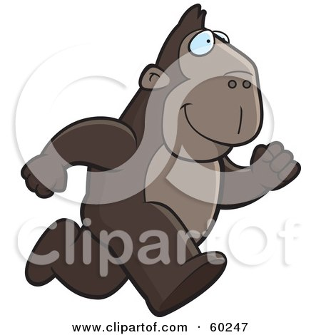 Royalty-Free (RF) Clipart Illustration of an Ape Character On The Run by Cory Thoman