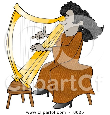 Female African American Harpist Playing the Harp Posters, Art Prints