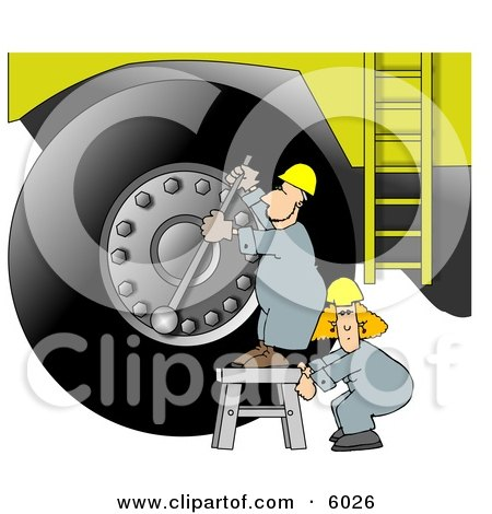 Repairman Putting a New Tire On a Huge Truck Clipart Picture by djart