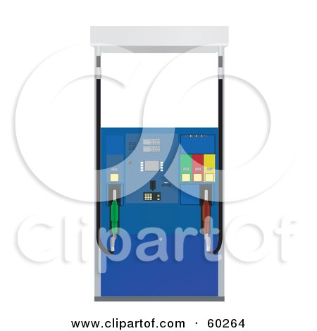 Royalty-Free (RF) Clipart Illustration of a Blue Pump At A Gas Station by JR