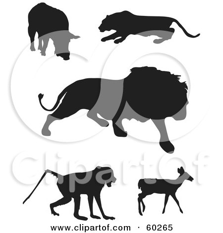 Royalty-Free (RF) Clipart Illustration of a Digital Collage Of Animal Silhouettes; Boar, Panther, Lion, Baboon And Deer by JR