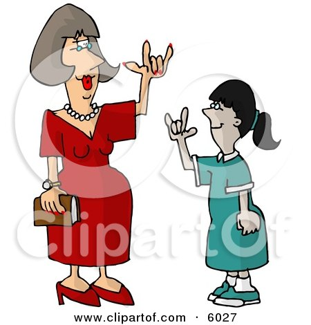 Hearing Impaired Teacher Using Sign Language with a Student Clipart Picture by djart