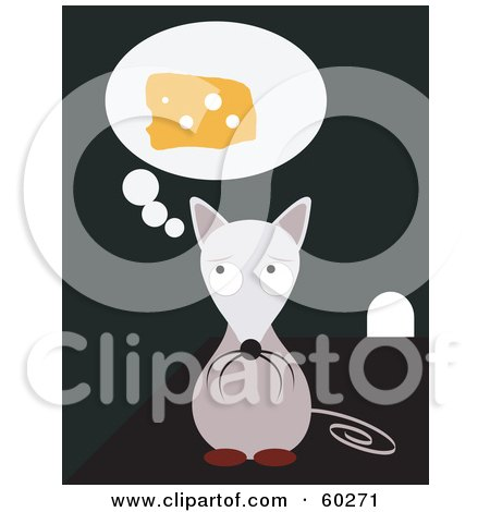 Royalty-Free (RF) Clipart Illustration of a Hungry Little Mouse Craving Cheese And Sitting By A Hole by JR