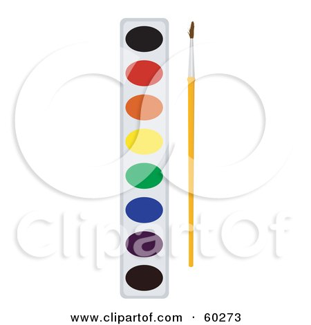 Royalty-Free (RF) Clipart Illustration of a Paintbrush Resting By A Paint Palette by JR