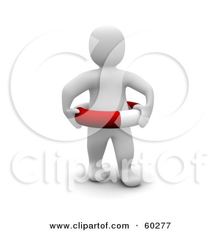 Royalty-Free (RF) Clipart Illustration of a 3d Blanco Man Character Standing And Wearing A Life Buoy by Jiri Moucka