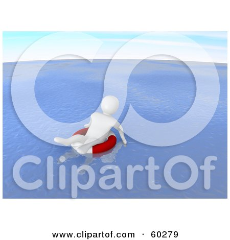 Royalty-Free (RF) Clipart Illustration of a Helpess 3d Blanco Man Character Floating In A Life Buoy At Sea - Version 2 by Jiri Moucka