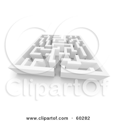 Royalty-Free (RF) Clipart Illustration of a 3d White Labyrinth Maze - Angle 4 by Jiri Moucka