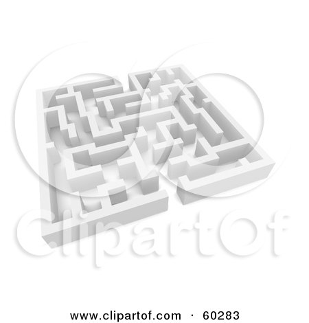 Royalty-Free (RF) Clipart Illustration of a 3d White Labyrinth Maze - Angle 2 by Jiri Moucka