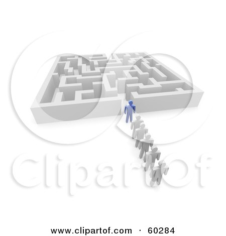 Royalty-Free (RF) Clipart Illustration of a 3d Blue Guy Leading White Followers Into A Maze by Jiri Moucka