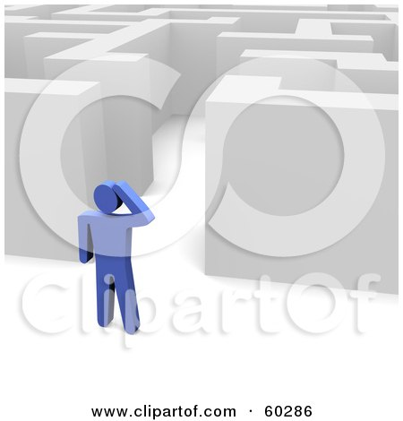 Royalty-Free (RF) Clipart Illustration of a Blue Guy Standing Outside a Maze by Jiri Moucka
