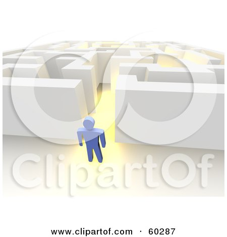 Royalty-Free (RF) Clipart Illustration of a Blue Guy Standing Outside a Glowing Maze by Jiri Moucka