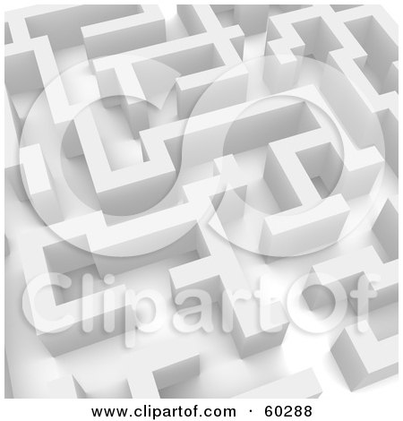 Royalty-Free (RF) Clipart Illustration of a 3d White Labyrinth Maze - Angle 3 by Jiri Moucka