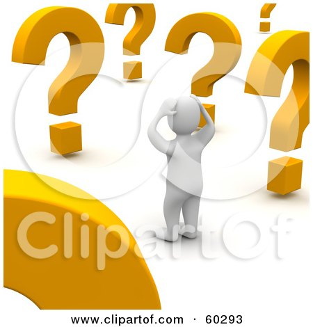 Confused 3d Blanco Man Character Looking At Large Question Marks Posters, Art Prints