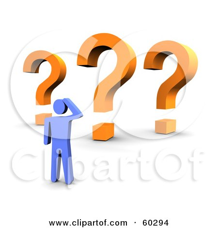 Royalty-Free (RF) Clipart Illustration of a 3d Blue Guy With Three Orange Question Marks by Jiri Moucka