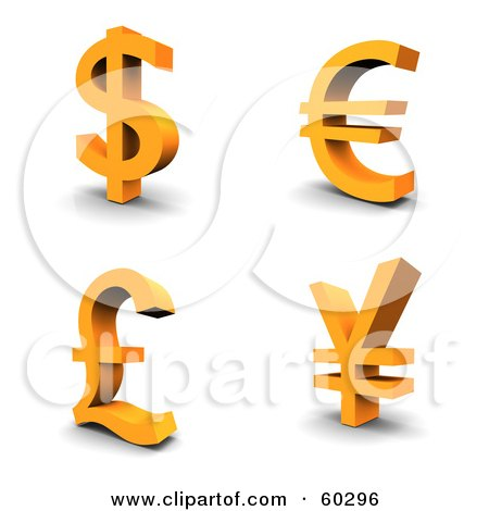 Collage Of Four Orange 3d Dollar, Euro, Pound And Yen Currency Symbols