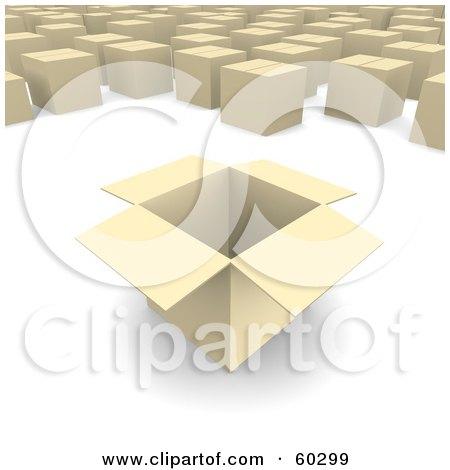 Royalty-Free (RF) Clipart Illustration of a Box Opened Near Sealed Boxes by Jiri Moucka