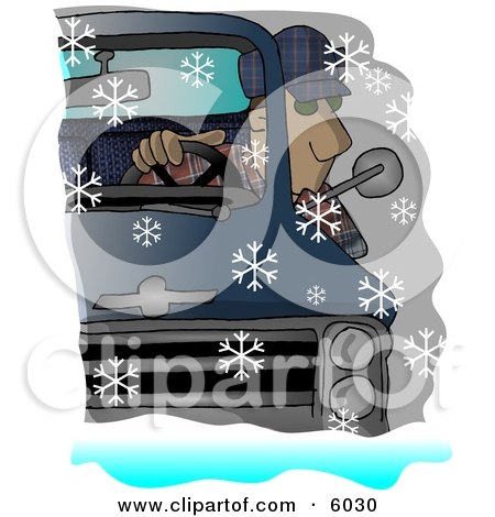 Man Driving a Chevy Pickup Truck in the Snow Clipart Picture by djart