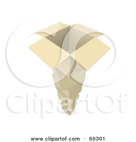 Royalty-Free (RF) Clipart Illustration of a Tall Stack Of Cardboard Boxes, One Open On The Top by Jiri Moucka