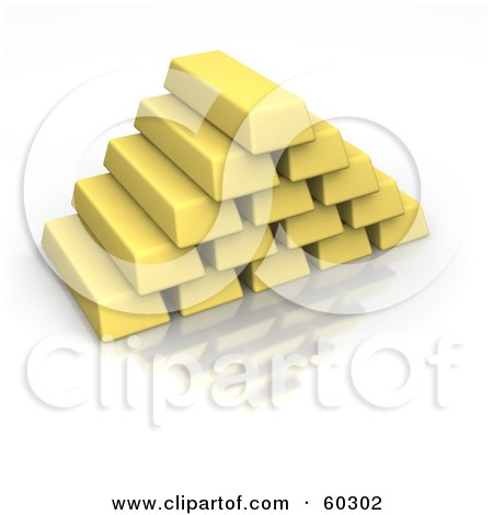 Royalty-Free (RF) Clipart Illustration of 3d Gold Bars Stacked Into A Pyramid by Jiri Moucka