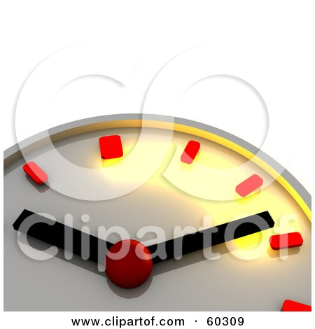 Royalty-Free (RF) Clipart Illustration of a Shiny Chrome 3d Wall Clock With Red Minute And Hour Markers by Jiri Moucka