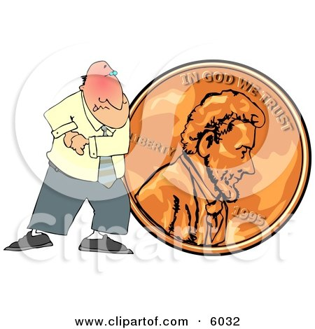 Cheapskate Businessman Pushing a Copper Penny Posters, Art Prints