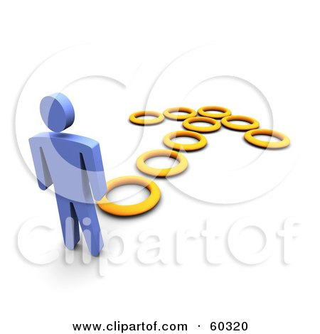 Royalty-Free (RF) Clipart Illustration of a 3d Blue Guy Following An Arrow Made Of Circles by Jiri Moucka