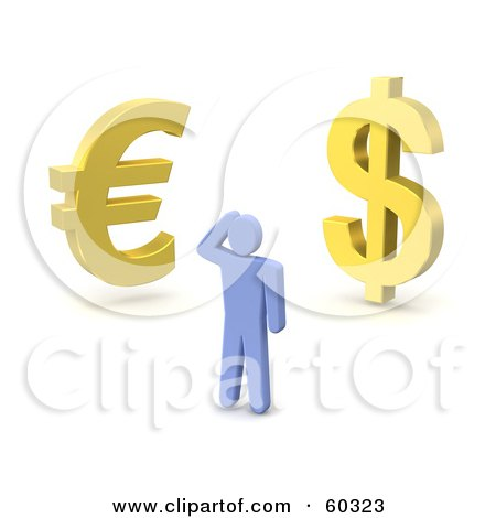 Royalty-Free (RF) Clipart Illustration of a 3d Blue Guy Standing Before Gold Dollar And Euro Symbols by Jiri Moucka