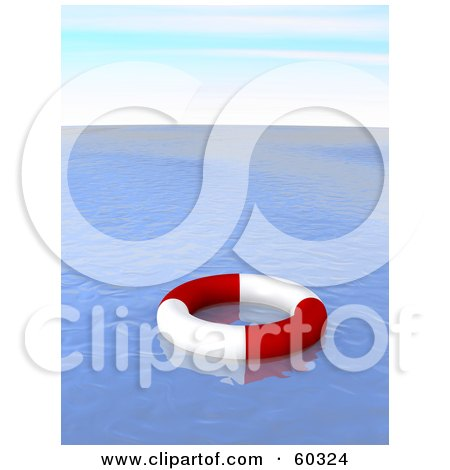 Royalty-Free (RF) Clipart Illustration of a Red And White Life Ring Floating On Deserted Blue Waters by Jiri Moucka