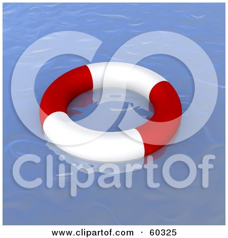 Royalty-Free (RF) Clipart Illustration of a Floating Life Ring On Deserted Blue Waters by Jiri Moucka