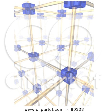 Royalty-Free (RF) Clipart Illustration of a Complex Background Of Networking Blue Cells And Yellow Cables - Version 2 by Jiri Moucka