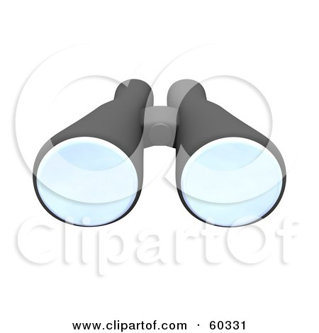 Royalty-Free (RF) Clipart Illustration of a Pair Of 3d Black Binoculars by Jiri Moucka