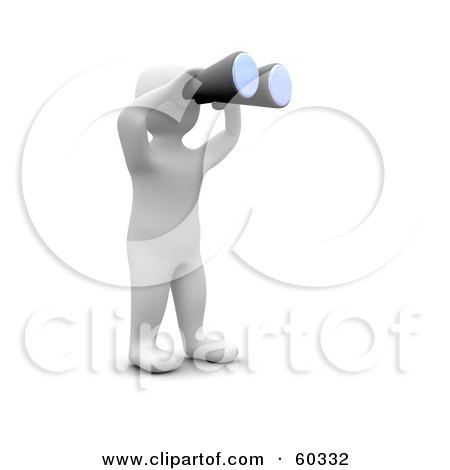Royalty-Free (RF) Clipart Illustration of a 3d Blanco Man Character Using Binoculars by Jiri Moucka