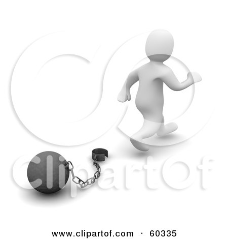 Royalty-Free (RF) Clipart Illustration of a 3d Blanco Man Character Walking Away From A Ball And Chain, Symbolizing Divorce, Debt Free And Freedom by Jiri Moucka