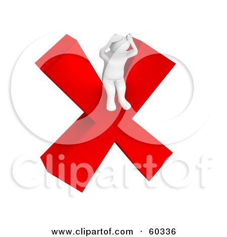 Royalty-Free (RF) Clipart Illustration of a Stressed 3d Blanco Man Character Sitting On A Red X by Jiri Moucka