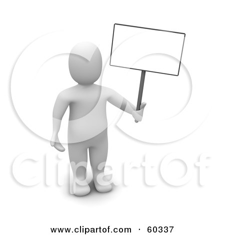 Royalty-Free (RF) Clipart Illustration of a 3d Blanco Man Character Standing And Holding A Blank Sign by Jiri Moucka