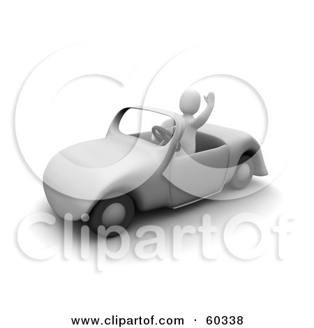 Royalty-Free (RF) Clipart Illustration of a 3d Blanco Man Character Waving And Driving by Jiri Moucka