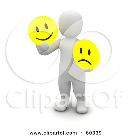 Royalty-Free (RF) Clipart Illustration of a 3d Blanco Man Character Holding Happy And Sad Faces by Jiri Moucka