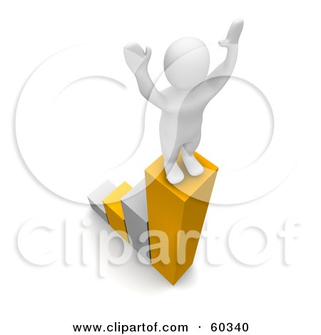 Royalty-Free (RF) Clipart Illustration of a 3d Blanco Man Character Standing Proudly Atop A Growing Bar Graph by Jiri Moucka