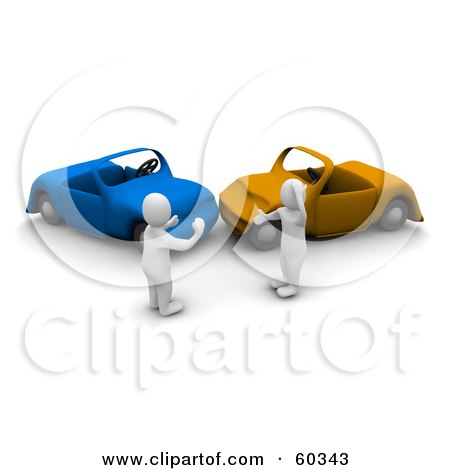 Royalty-Free (RF) Clipart Illustration of 3d Blanco Man Characters Arguing Over A Car Wreck by Jiri Moucka