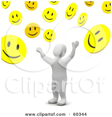 Royalty-Free (RF) Clipart Illustration of a 3d Blanco Man Character Tossing Up Smiley Faces by Jiri Moucka